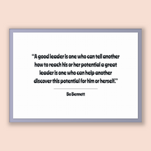Load image into Gallery viewer, Bo Bennett Quote, Bo Bennett Poster, Bo Bennett Print, Printable Poster, A good leader is one who can tell another how to reach his or he...