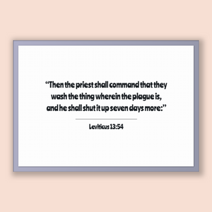 Leviticus 13:54 - Old Testiment - Then the priest shall command that they wash the thing wherein the plague is, and he shall shut it up s...