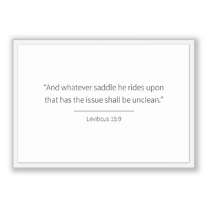 Leviticus 15:9 - Old Testiment - And whatever saddle he rides upon that has the issue shall be unclean.
