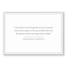 Load image into Gallery viewer, Song Of Solomon (canticles) 6:11 - Old Testiment - I went down into the garden of nuts to see the fruits of the valley, and to see whethe...
