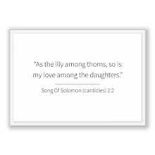 Load image into Gallery viewer, Song Of Solomon (canticles) 2:2 - Old Testiment - As the lily among thorns, so is my love among the daughters.