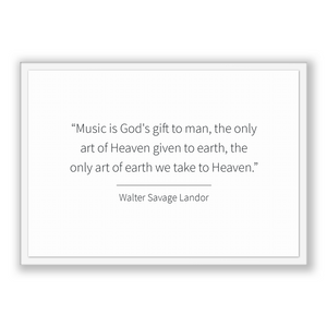 Walter Savage Landor Quote, Walter Savage Landor Poster, Walter Savage Landor Print, Printable Poster, Music is God's gift to man, the on...