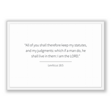 Load image into Gallery viewer, Leviticus 18:5 - Old Testiment - All of you shall therefore keep my statutes, and my judgments: which if a man do, he shall live in them:...