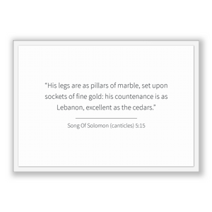 Song Of Solomon (canticles) 5:15 - Old Testiment - His legs are as pillars of marble, set upon sockets of fine gold: his countenance is a...