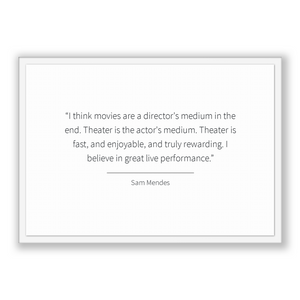 Sam Mendes Quote, Sam Mendes Poster, Sam Mendes Print, Printable Poster, I think movies are a director's medium in the end. Theater is th...