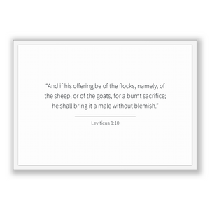 Leviticus 1:10 - Old Testiment - And if his offering be of the flocks, namely, of the sheep, or of the goats, for a burnt sacrifice; he s...