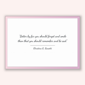 Christina G. Rossetti Quote, Christina G. Rossetti Poster, Christina G. Rossetti Print, Printable Poster, Better by far you should forget...
