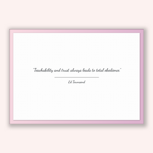 Ed Townsend Quote, Ed Townsend Poster, Ed Townsend Print, Printable Poster, Teachability and trust always leads to total obedience.
