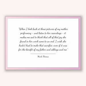 Marlo Thomas Quote, Marlo Thomas Poster, Marlo Thomas Print, Printable Poster, When I look back at those pictures of my mother performing...