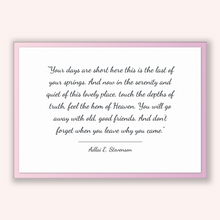 Load image into Gallery viewer, Adlai E. Stevenson Quote, Adlai E. Stevenson Poster, Adlai E. Stevenson Print, Printable Poster, Your days are short here this is the las...