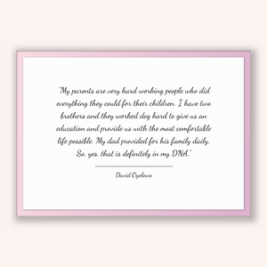 David Oyelowo Quote, David Oyelowo Poster, David Oyelowo Print, Printable Poster, My parents are very hard working people who did everyth...