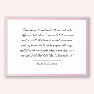 Giada De Laurentiis Quote, Giada De Laurentiis Poster, Giada De Laurentiis Print, Printable Poster, These days it's cool to be ethnic and...