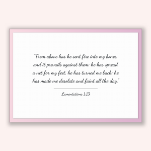 Lamentations 1:13 - Old Testiment - From above has he sent fire into my bones, and it prevails against them: he has spread a net for my f...
