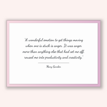 Load image into Gallery viewer, Mary Garden Quote, Mary Garden Poster, Mary Garden Print, Printable Poster, A wonderful emotion to get things moving when one is stuck is...