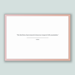 Voltaire Quote, Voltaire Poster, Voltaire Print, Printable Poster, The ideal form of government is democracy tempered with assassination.