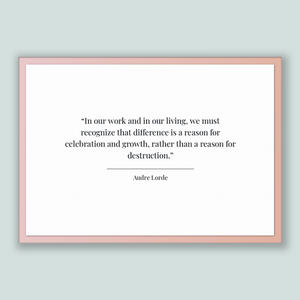 Audre Lorde Quote, Audre Lorde Poster, Audre Lorde Print, Printable Poster, In our work and in our living, we must recognize that differe...