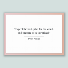 Load image into Gallery viewer, Denis Waitley Quote, Denis Waitley Poster, Denis Waitley Print, Printable Poster, Expect the best, plan for the worst, and prepare to be ...