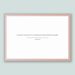 Ambrose Bierce Quote, Ambrose Bierce Poster, Ambrose Bierce Print, Printable Poster, Corporation: An ingenious device for obtaining profi...