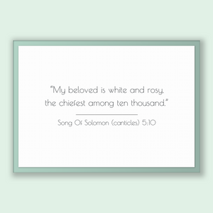 Song Of Solomon (canticles) 5:10 - Old Testiment - My beloved is white and rosy, the chiefest among ten thousand.
