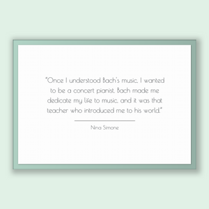 Nina Simone Quote, Nina Simone Poster, Nina Simone Print, Printable Poster, Once I understood Bach's music, I wanted to be a concert pian...