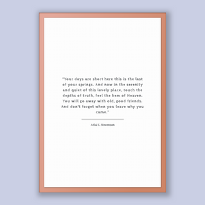 Adlai E. Stevenson Quote, Adlai E. Stevenson Poster, Adlai E. Stevenson Print, Printable Poster, Your days are short here this is the las...