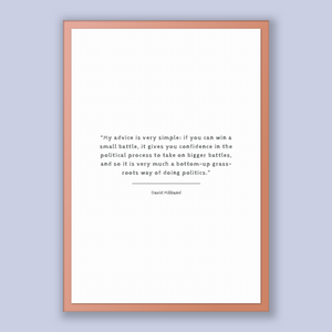David Miliband Quote, David Miliband Poster, David Miliband Print, Printable Poster, My advice is very simple: if you can win a small bat...