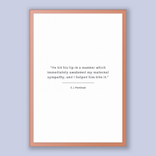 Load image into Gallery viewer, S. J. Perelman Quote, S. J. Perelman Poster, S. J. Perelman Print, Printable Poster, He bit his lip in a manner which immediately awakene...