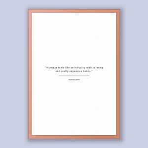 Rashida Jones Quote, Rashida Jones Poster, Rashida Jones Print, Printable Poster, Marriage feels like an industry with catering and reall...