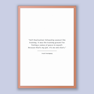 Mariel Hemingway Quote, Mariel Hemingway Poster, Mariel Hemingway Print, Printable Poster, Self-Realization Fellowship seemed like traini...