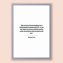Load image into Gallery viewer, Washington Irving Quote, Washington Irving Poster, Washington Irving Print, Printable Poster, Who ever hears of fat men heading a riot, o...