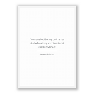 Honore De Balzac Quote, Honore De Balzac Poster, Honore De Balzac Print, Printable Poster, No man should marry until he has studied anato...