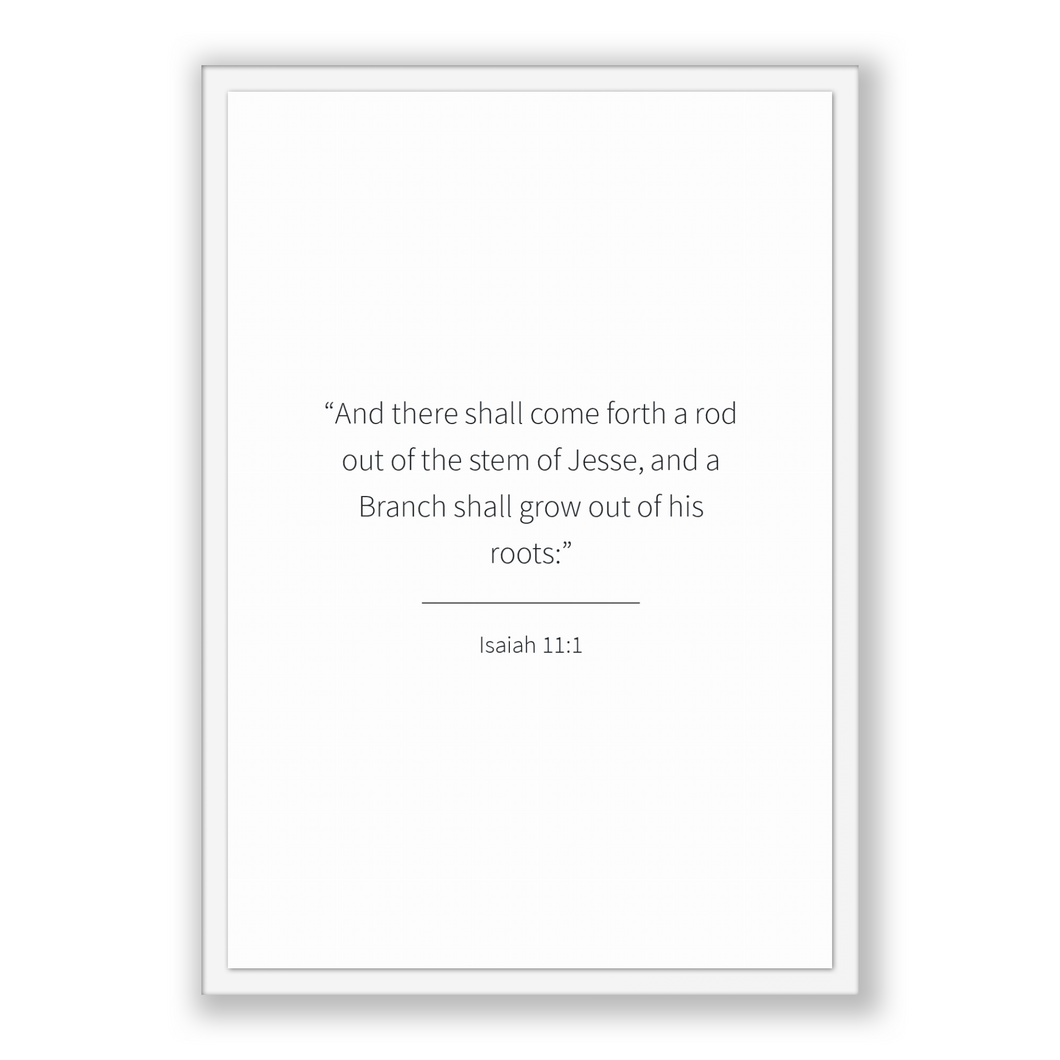 Isaiah 11:1 - Old Testiment - And there shall come forth a rod out of the stem of Jesse, and a Branch shall grow out of his roots: