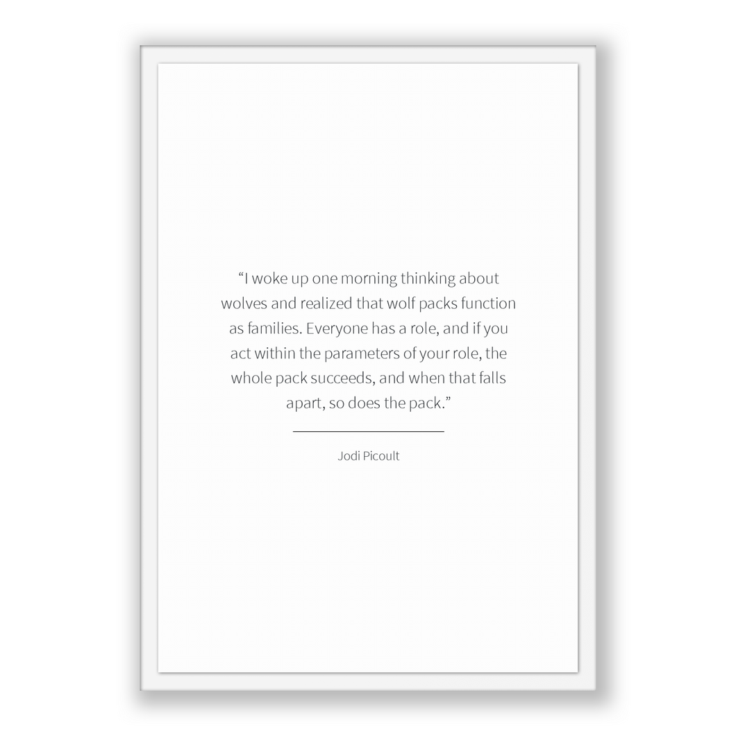 Jodi Picoult Quote, Jodi Picoult Poster, Jodi Picoult Print, Printable Poster, I woke up one morning thinking about wolves and realized t...