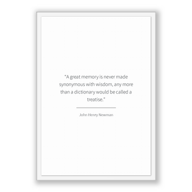 John Henry Newman Quote, John Henry Newman Poster, John Henry Newman Print, Printable Poster, A great memory is never made synonymous wit...