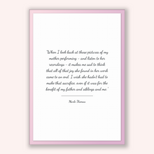 Load image into Gallery viewer, Marlo Thomas Quote, Marlo Thomas Poster, Marlo Thomas Print, Printable Poster, When I look back at those pictures of my mother performing...