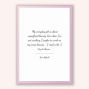 Bar Refaeli Quote, Bar Refaeli Poster, Bar Refaeli Print, Printable Poster, My everyday job is about superficial beauty, but when I'm not...