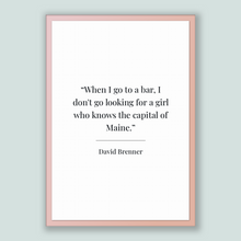 Load image into Gallery viewer, David Brenner Quote, David Brenner Poster, David Brenner Print, Printable Poster, When I go to a bar, I don't go looking for a girl who k...