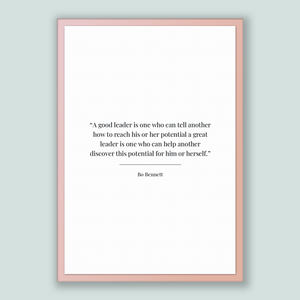 Bo Bennett Quote, Bo Bennett Poster, Bo Bennett Print, Printable Poster, A good leader is one who can tell another how to reach his or he...