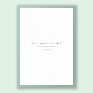 John Cleese Quote, John Cleese Poster, John Cleese Print, Printable Poster, He who laughs most, learns best.