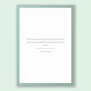 Allen Ginsberg Quote, Allen Ginsberg Poster, Allen Ginsberg Print, Printable Poster, My own experience is that a certain kind of genius a...