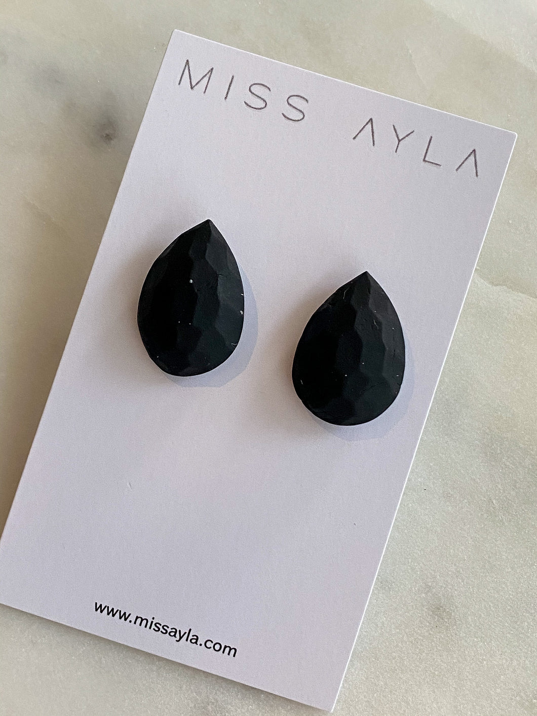 Black 3D Teardrop Studs by Miss Ayla
