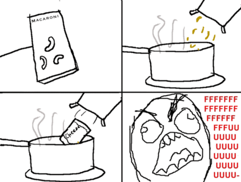 Pouring macaroni into a pot of water and the cheese packet going in as well