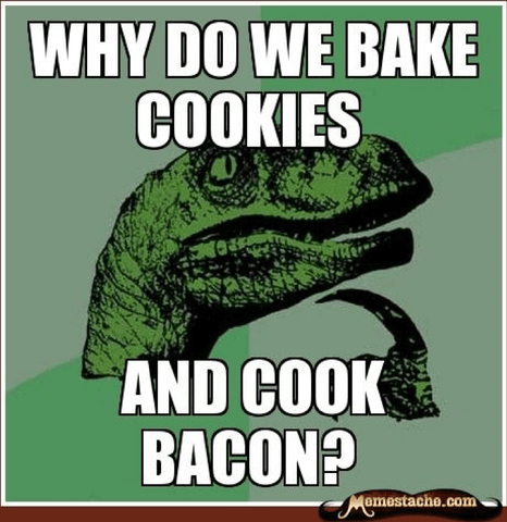 Why do we bake cookies and cook bacon