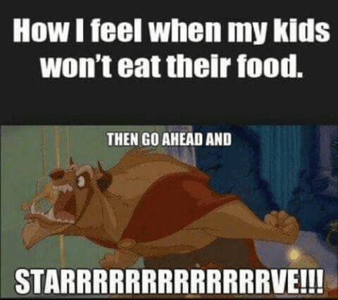 How I feel when my kids won't eat their food.