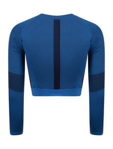 Seamless Long Sleeve Contrast Panel Crop Top - Hydra Tech Pro
