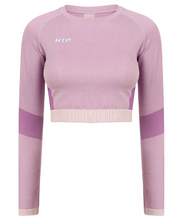 Load image into Gallery viewer, Seamless Long Sleeve Contrast Panel Crop Top - Hydra Tech Pro