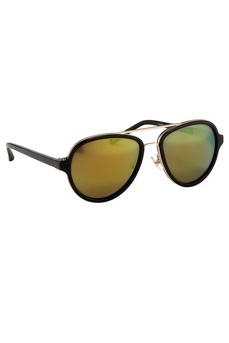 3.1 Phillip Lim Black Matte Gold with Multi Yellow Lenses - Cloak and Dagger NYC