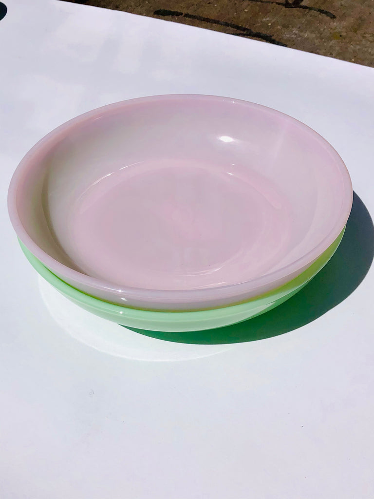 "MOSSER PINK 9"" MILK GLASS BOWL"