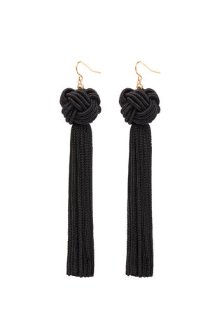 VANESSA MOONEY ASTRID KNOTTED TASSEL EARRINGS, BLACK