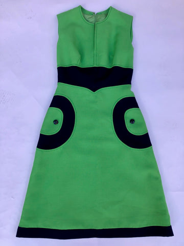 VINTAGE GREEN & NAVY MOD 60'S DRESS